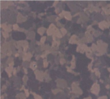 Figure 2: Micrograph of polished Titanium under cross-polarized light (1000x). Unable to see smear at this magnification
